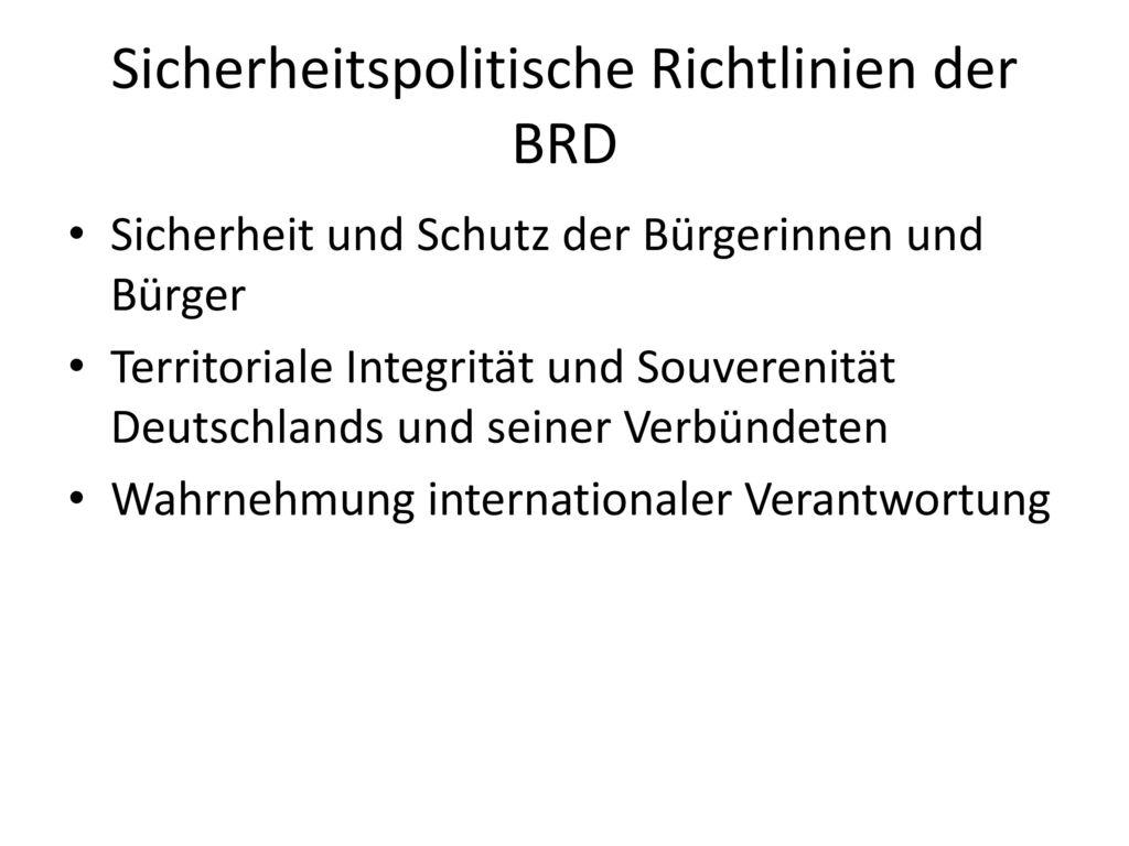 Sicherheitspolitische Richtlinien der BRD
