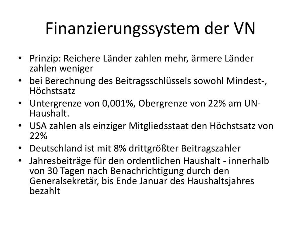 Finanzierungssystem der VN