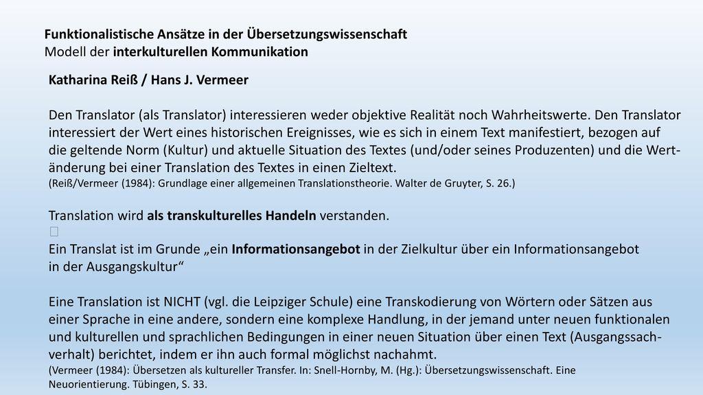 Funktionalistische Ansätze in der Übersetzungswissenschaft