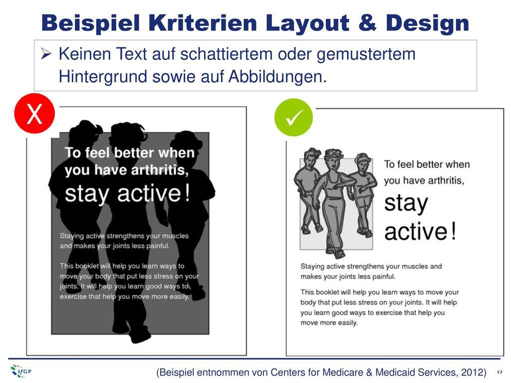 Beispiel Kriterien Layout & Design