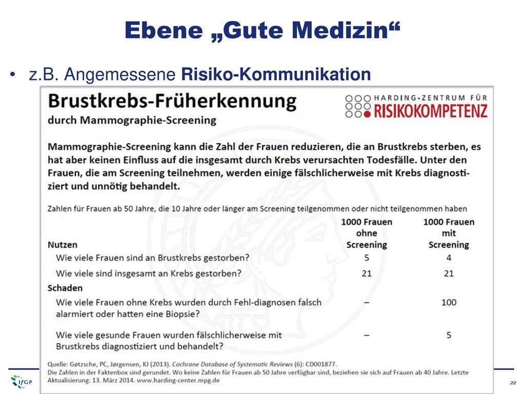 """Ebene """"Gute Medizin z.B. Angemessene Risiko-Kommunikation"""
