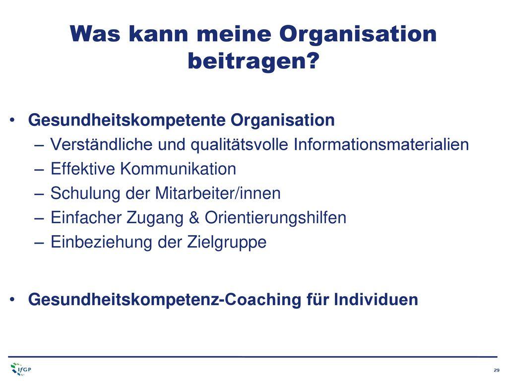 Was kann meine Organisation beitragen