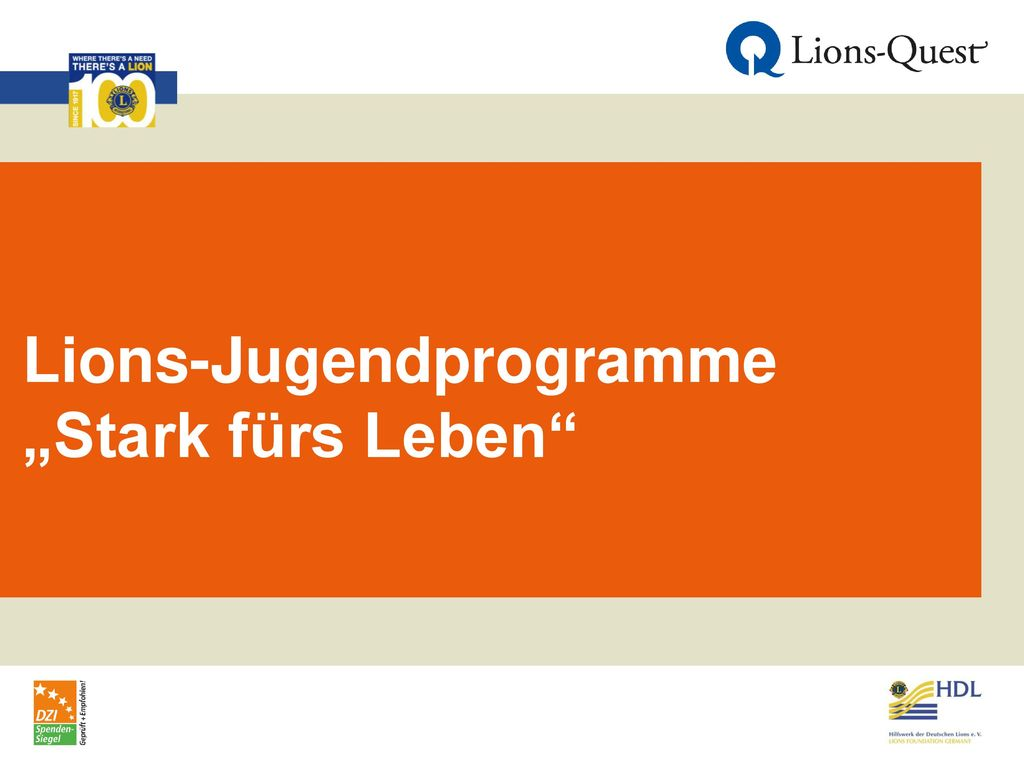 """Lions-Jugendprogramme """"Stark fürs Leben"""