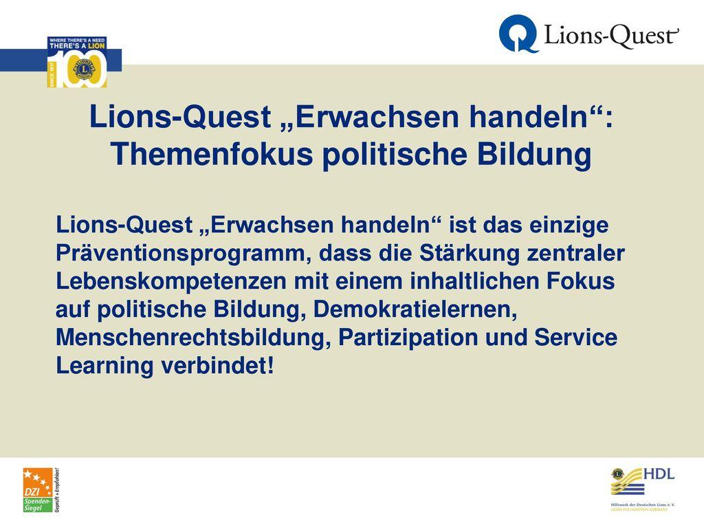 """Lions-Quest """"Erwachsen handeln : Themenfokus politische Bildung"""
