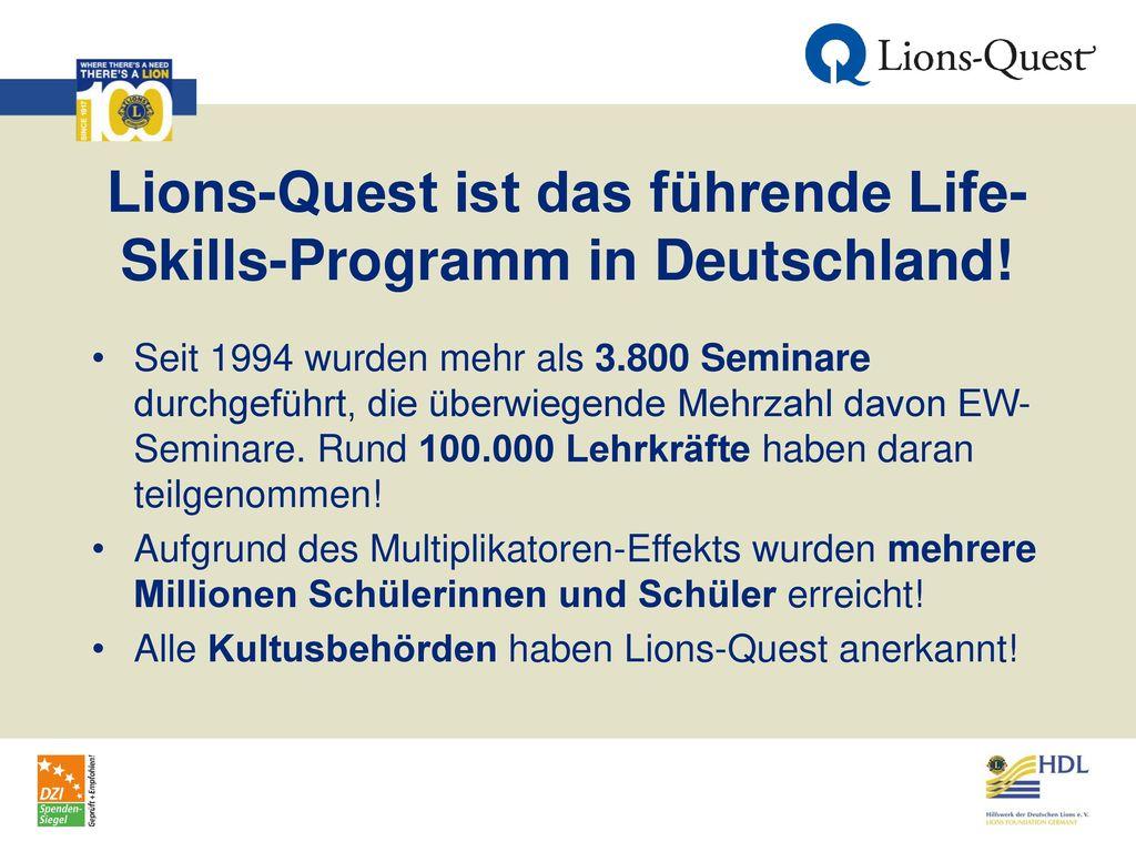 Lions-Quest ist das führende Life-Skills-Programm in Deutschland!