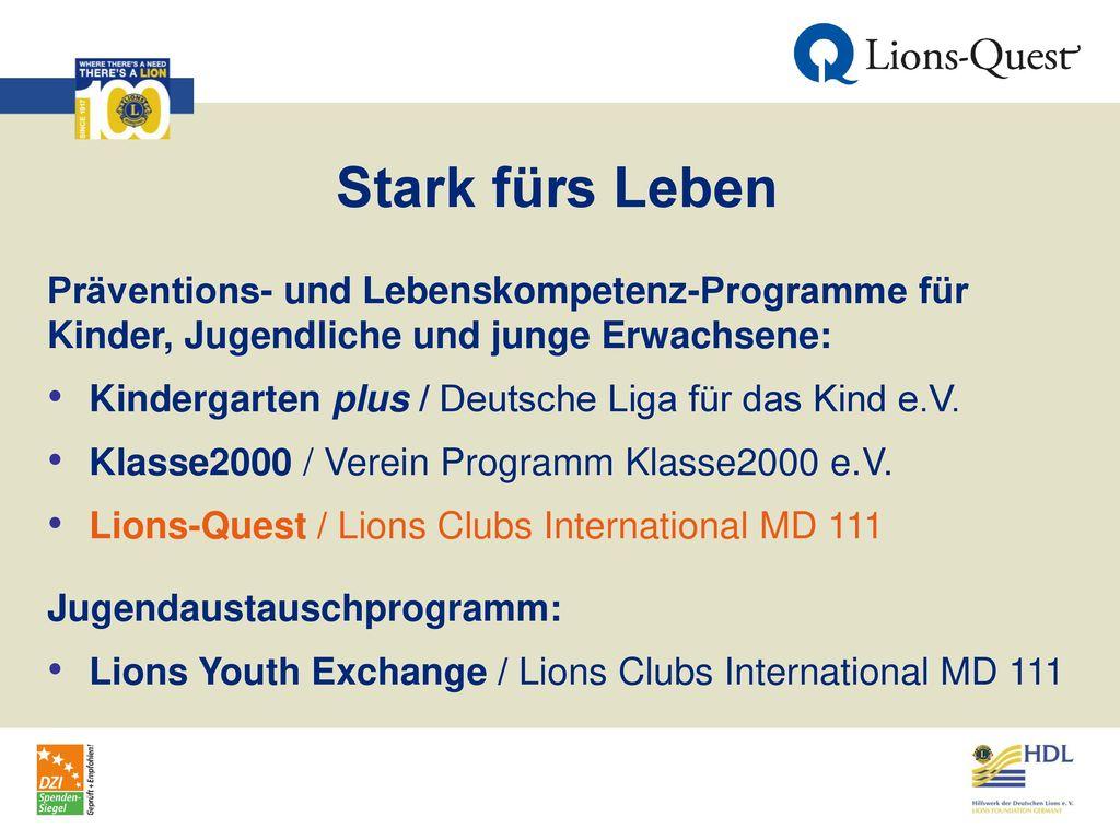Stark fürs Leben Präventions- und Lebenskompetenz-Programme für Kinder, Jugendliche und junge Erwachsene: