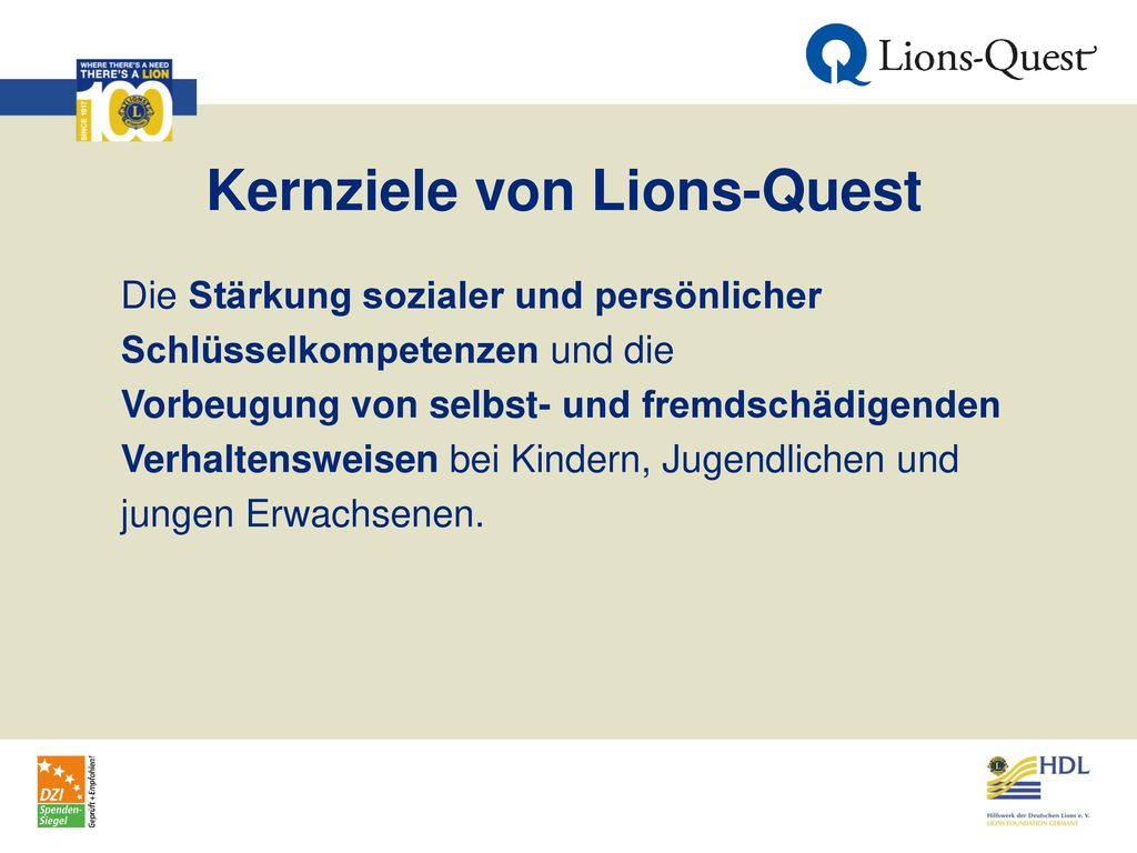Kernziele von Lions-Quest