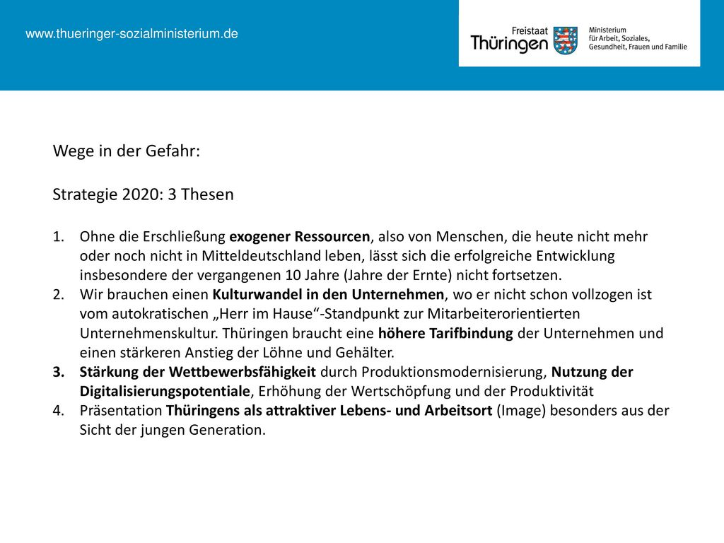 Wege in der Gefahr: Strategie 2020: 3 Thesen