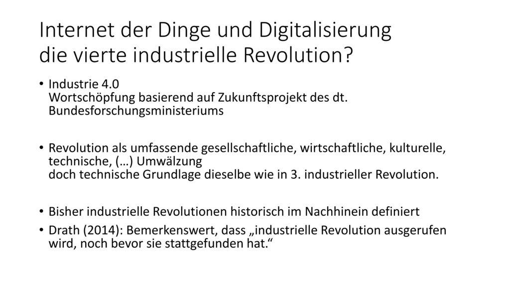 Internet der Dinge und Digitalisierung die vierte industrielle Revolution