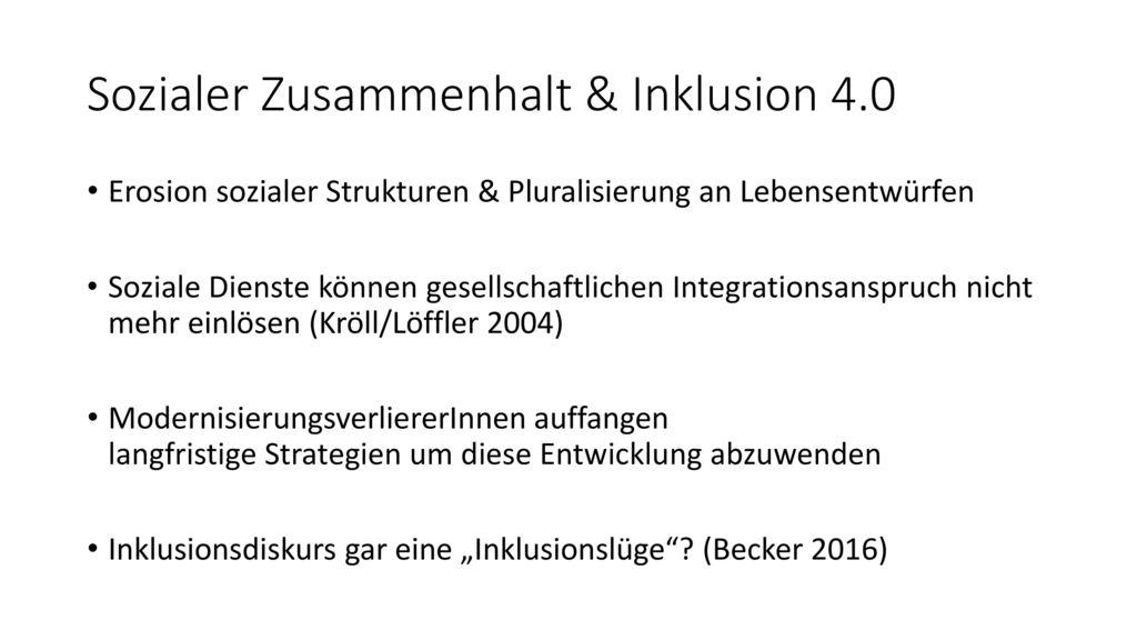 Sozialer Zusammenhalt & Inklusion 4.0