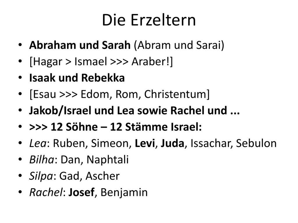 Die Erzeltern Abraham und Sarah (Abram und Sarai)