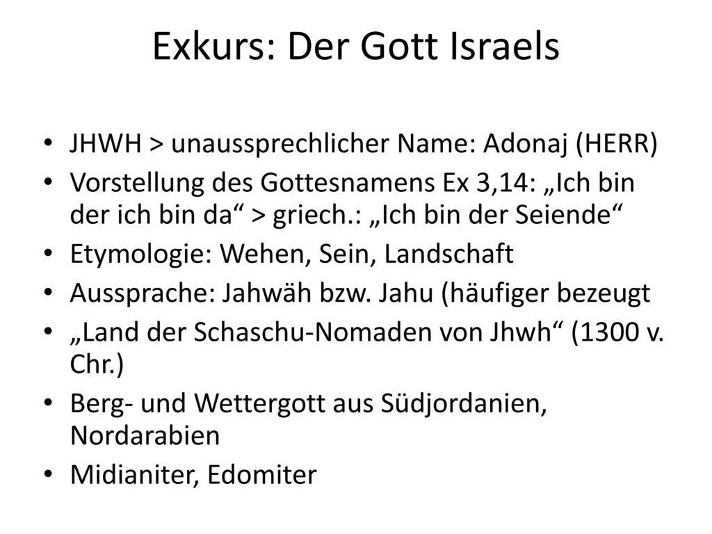 Exkurs: Der Gott Israels