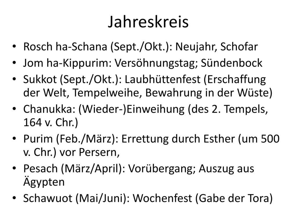 Jahreskreis Rosch ha-Schana (Sept./Okt.): Neujahr, Schofar
