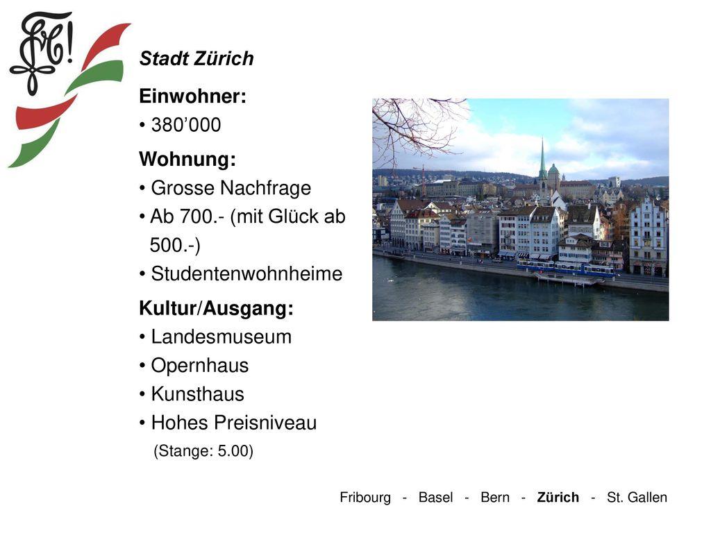 Stadt Zürich Einwohner: 380'000 Wohnung: Grosse Nachfrage