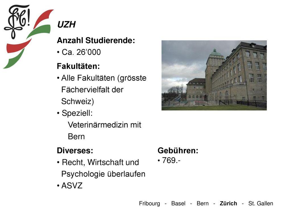 UZH Anzahl Studierende: Ca. 26'000 Fakultäten: