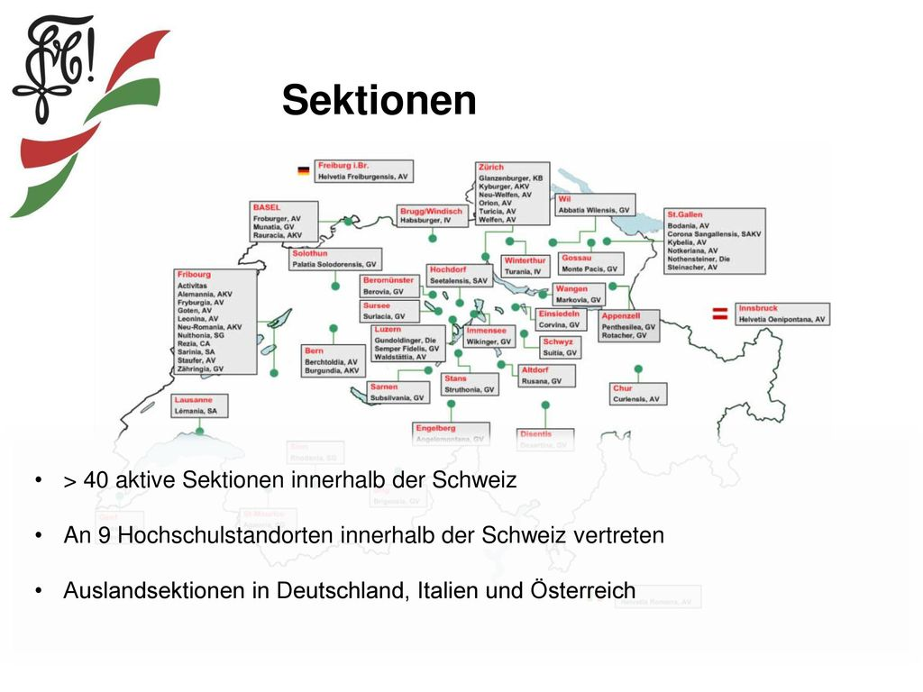 Sektionen > 40 aktive Sektionen innerhalb der Schweiz