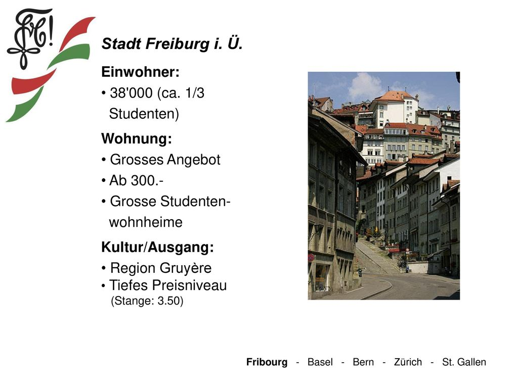 Stadt Freiburg i. Ü. Einwohner: 38 000 (ca. 1/3 Studenten) Wohnung: