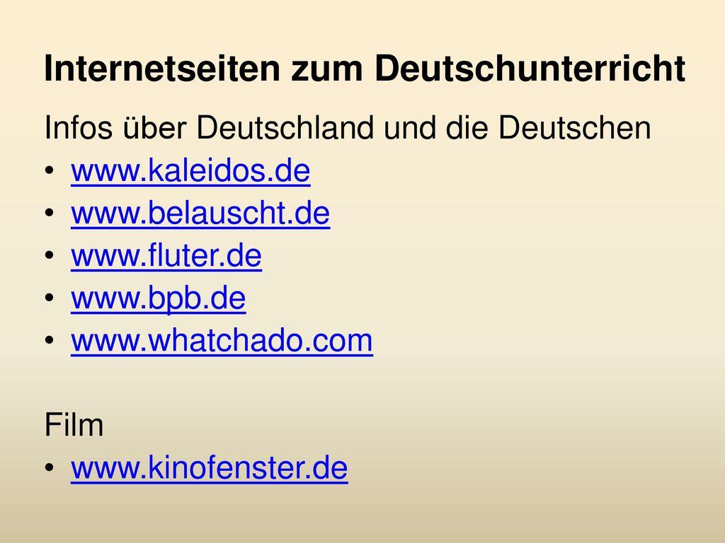 Internetseiten zum Deutschunterricht