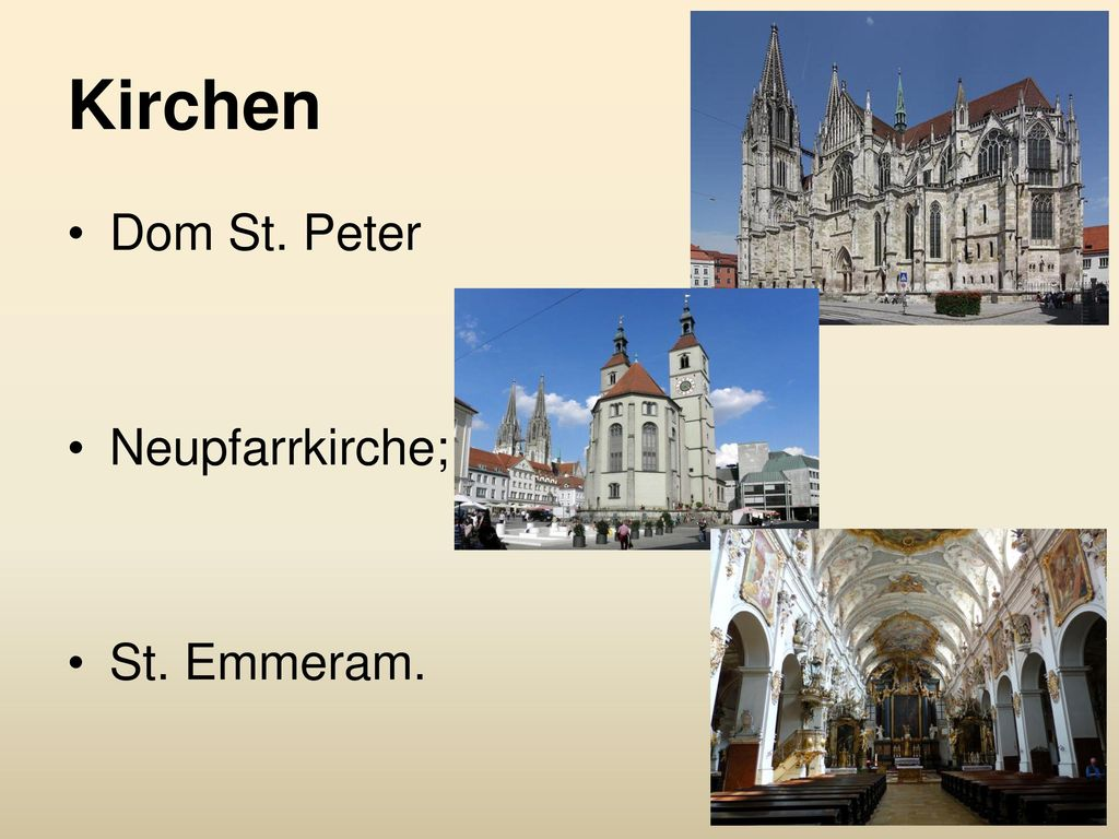 Kirchen Dom St. Peter Neupfarrkirche; St. Emmeram.