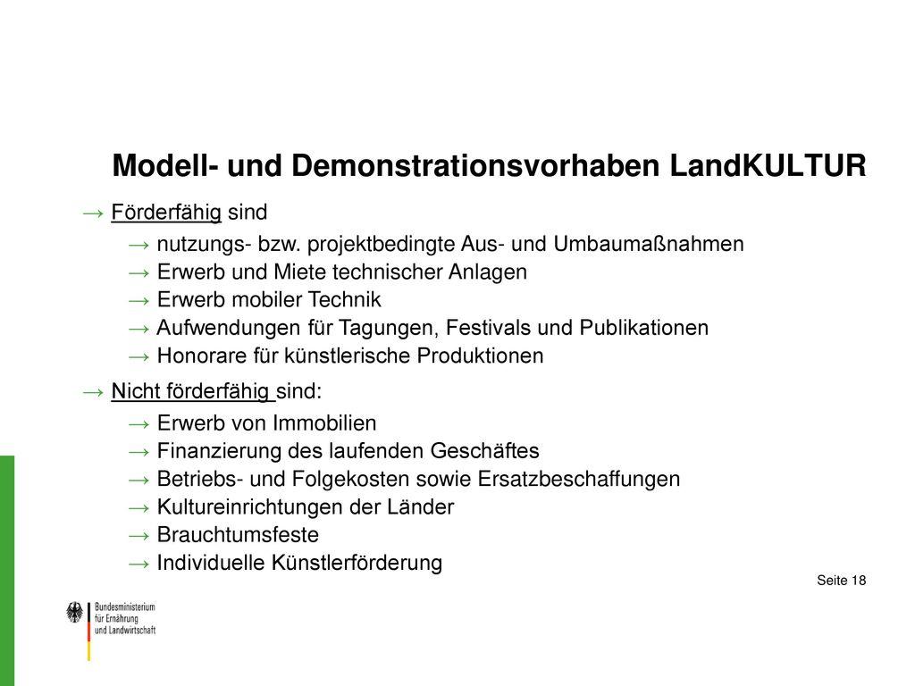 Modell- und Demonstrationsvorhaben LandKULTUR