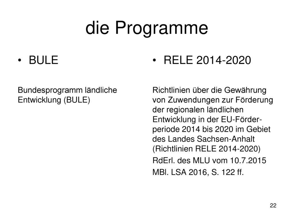 die Programme BULE RELE 2014-2020