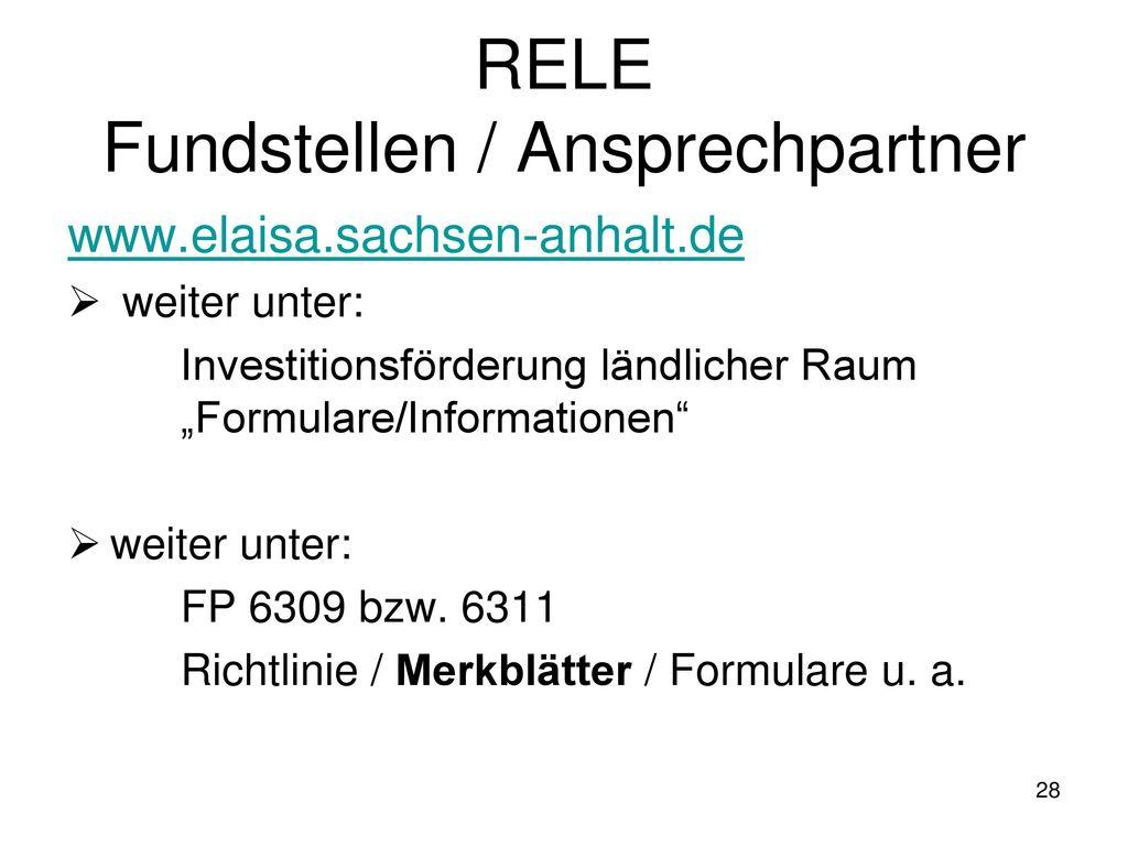 RELE Fundstellen / Ansprechpartner