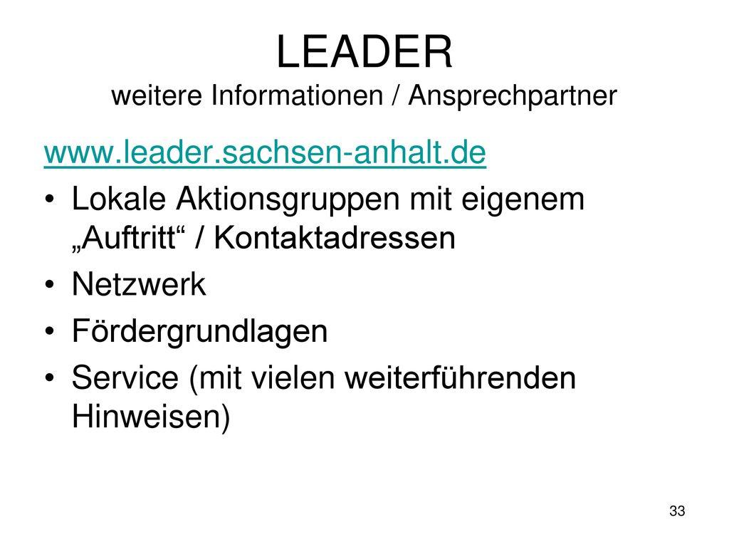 LEADER weitere Informationen / Ansprechpartner