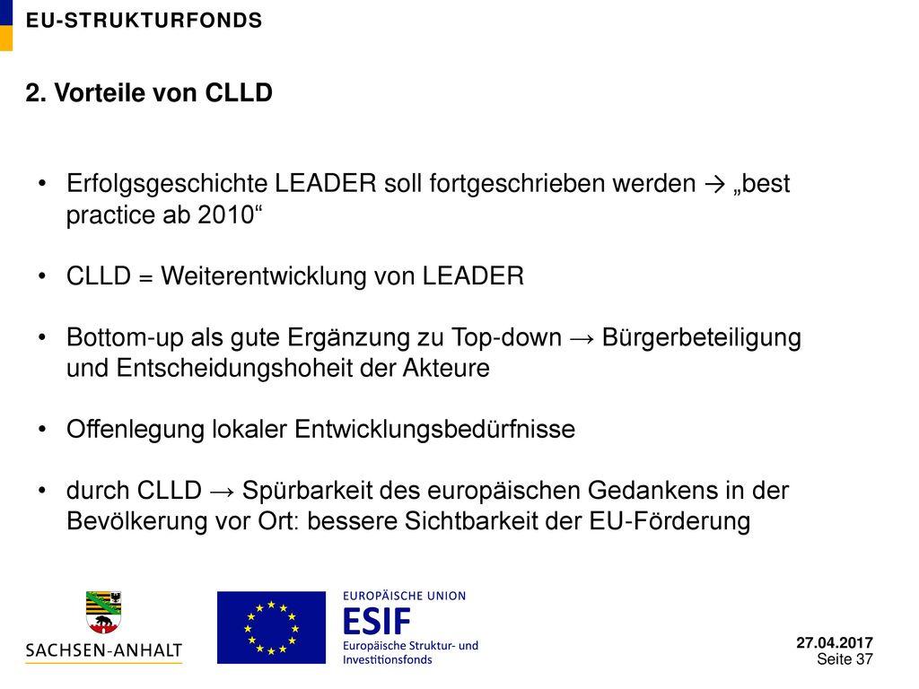 CLLD = Weiterentwicklung von LEADER