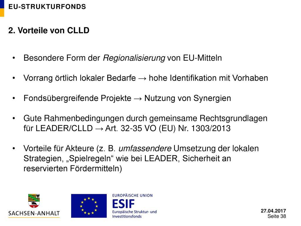 Besondere Form der Regionalisierung von EU-Mitteln