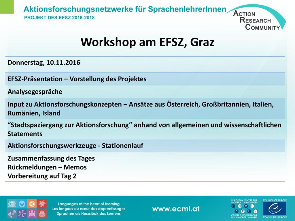 Workshop am EFSZ, Graz Donnerstag, 10.11.2016