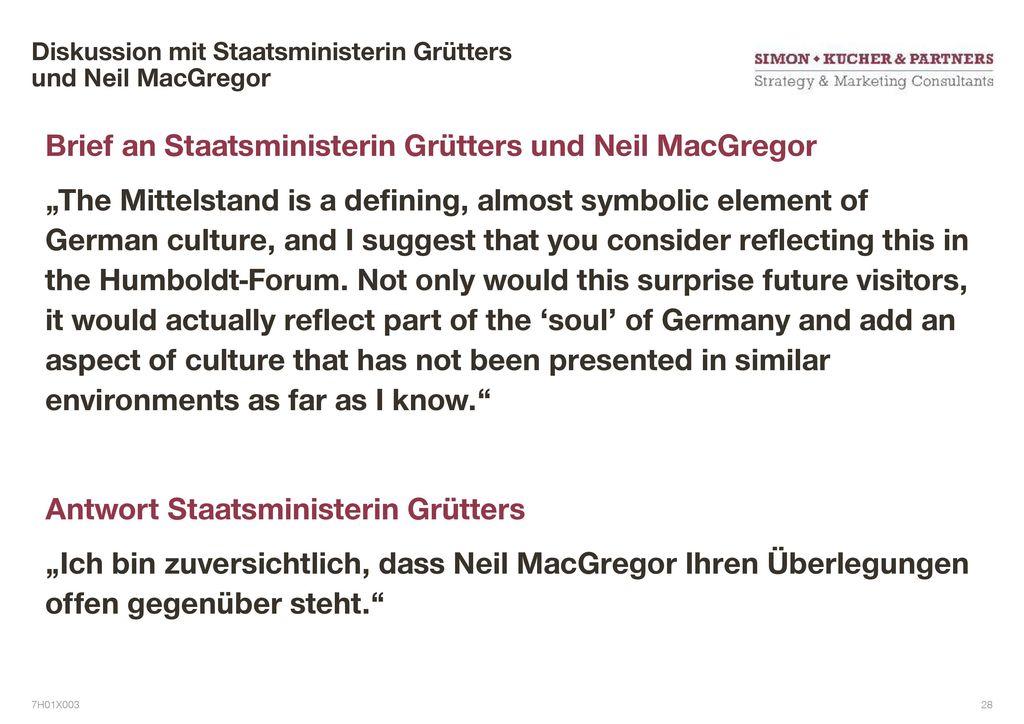 Diskussion mit Staatsministerin Grütters und Neil MacGregor