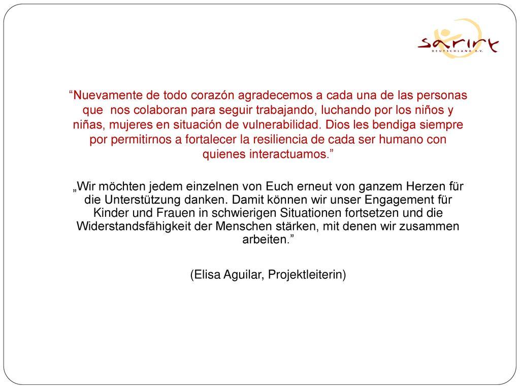 (Elisa Aguilar, Projektleiterin)