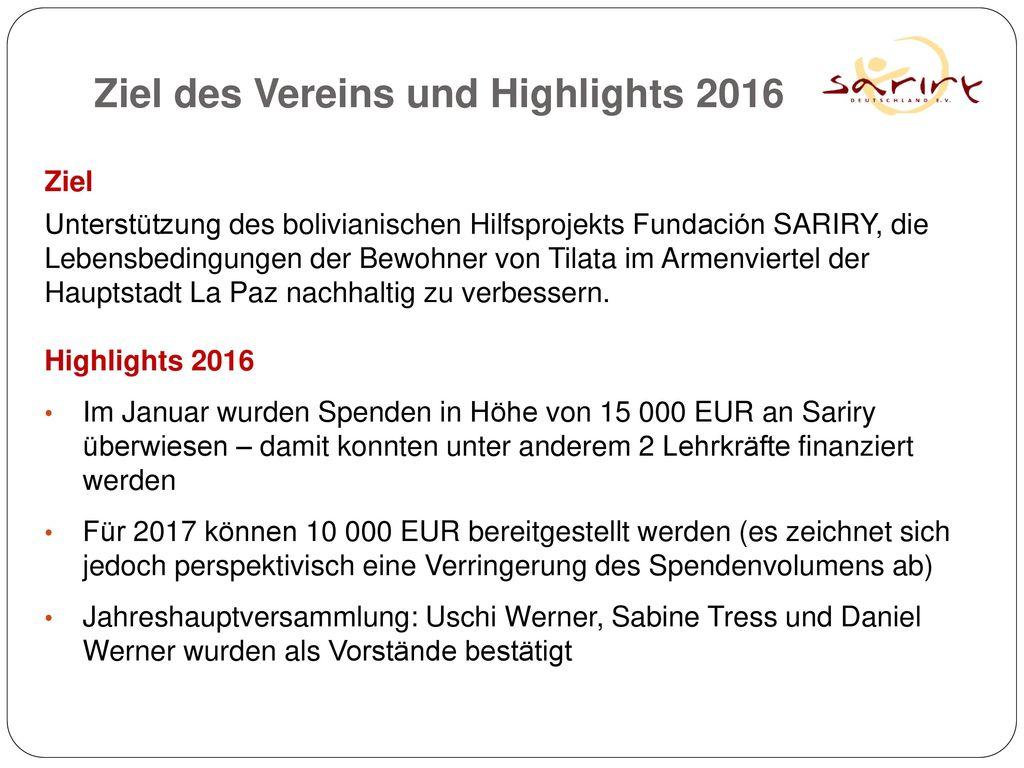 Ziel des Vereins und Highlights 2016