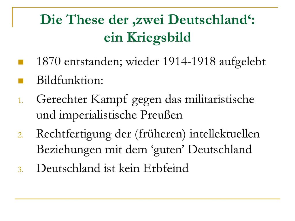 Die These der 'zwei Deutschland': ein Kriegsbild