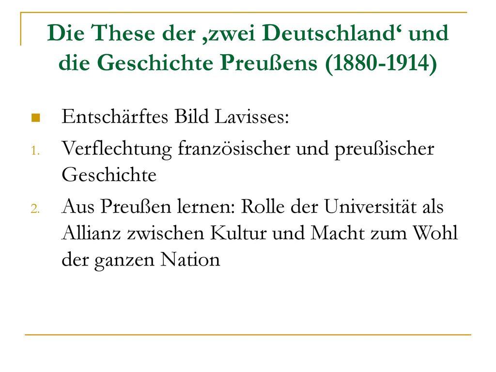 Die These der 'zwei Deutschland' und die Geschichte Preußens (1880-1914)