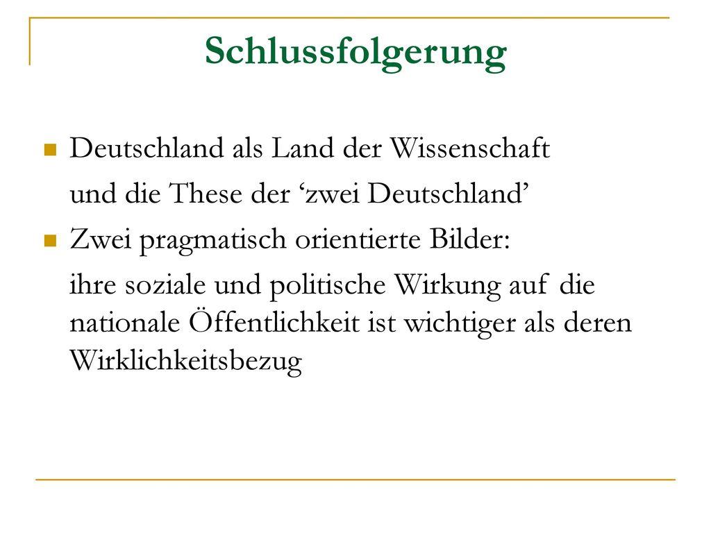 Schlussfolgerung Deutschland als Land der Wissenschaft