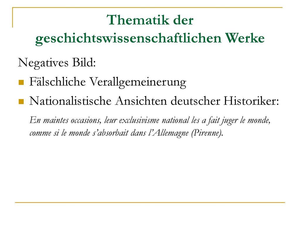 Thematik der geschichtswissenschaftlichen Werke