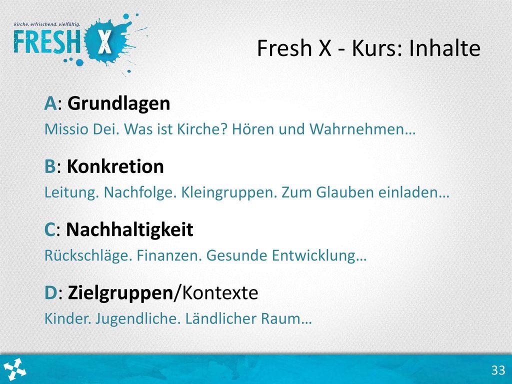 Fresh X - Kurs: Inhalte A: Grundlagen B: Konkretion C: Nachhaltigkeit