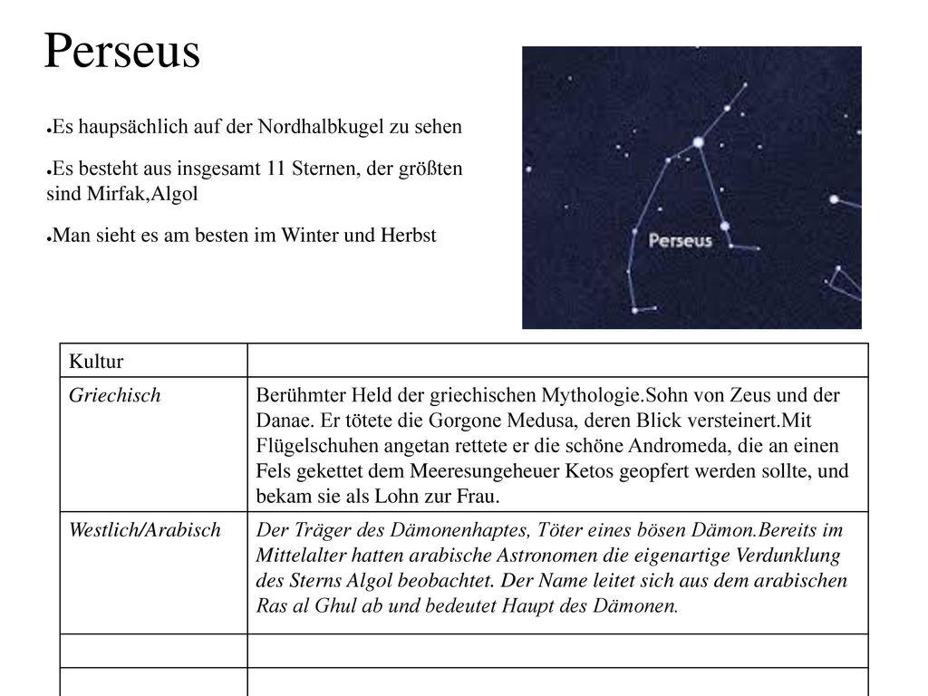 Perseus Es haupsächlich auf der Nordhalbkugel zu sehen