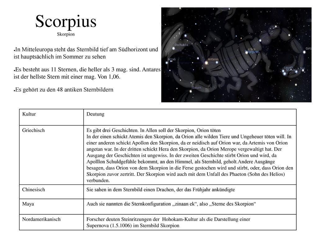 Scorpius Skorpion In Mitteleuropa steht das Sternbild tief am Südhorizont und ist hauptsächlich im Sommer zu sehen.