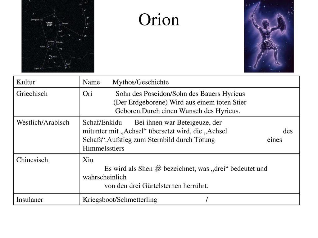 Orion Kultur Name Mythos/Geschichte Griechisch