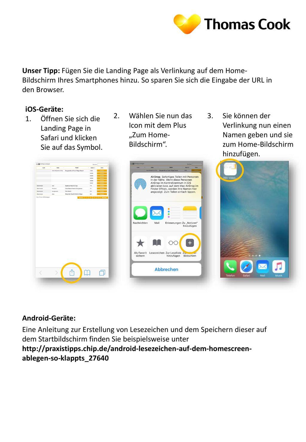 Unser Tipp: Fügen Sie die Landing Page als Verlinkung auf dem Home-Bildschirm Ihres Smartphones hinzu. So sparen Sie sich die Eingabe der URL in den Browser.