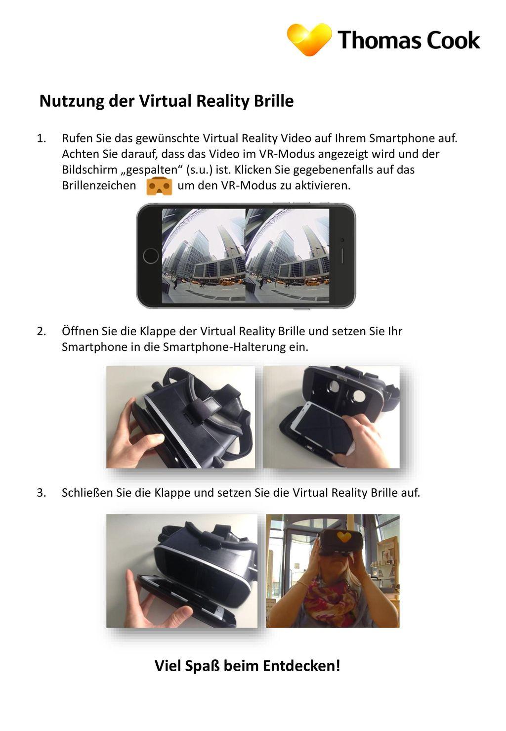 Nutzung der Virtual Reality Brille