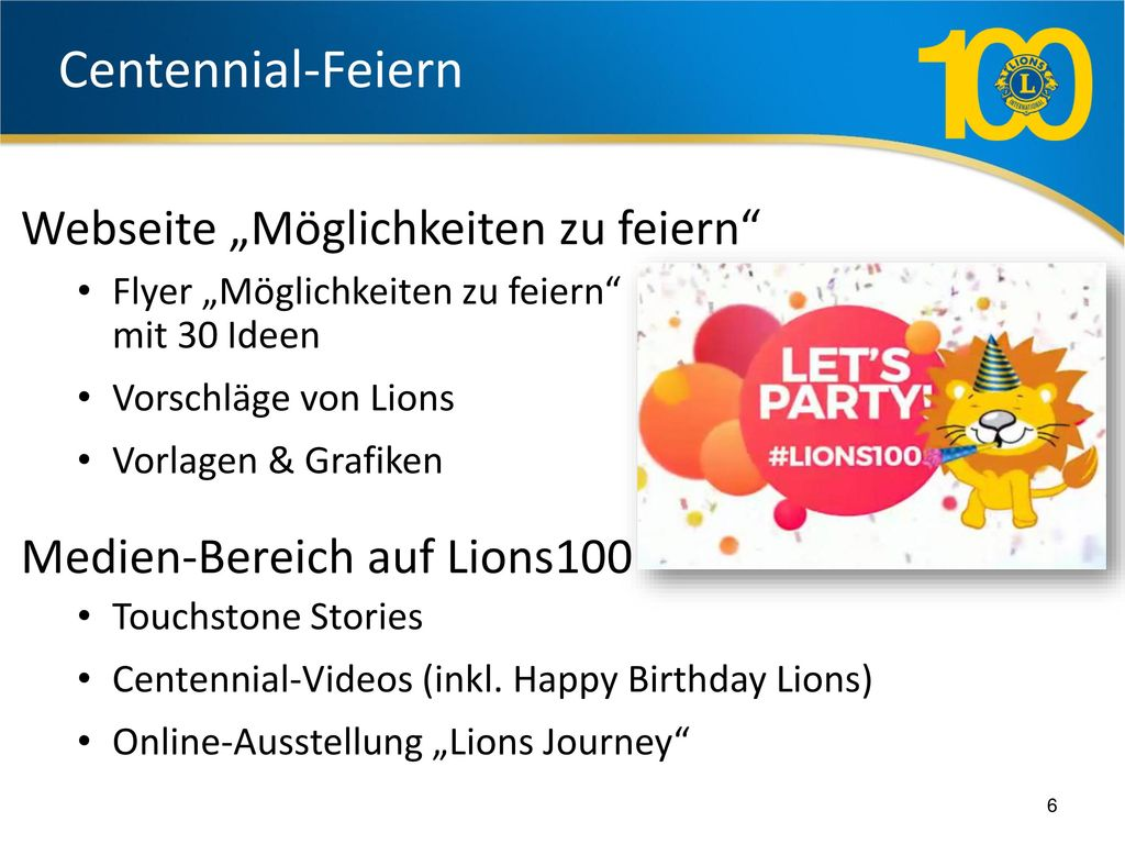 """Centennial-Feiern Webseite """"Möglichkeiten zu feiern"""