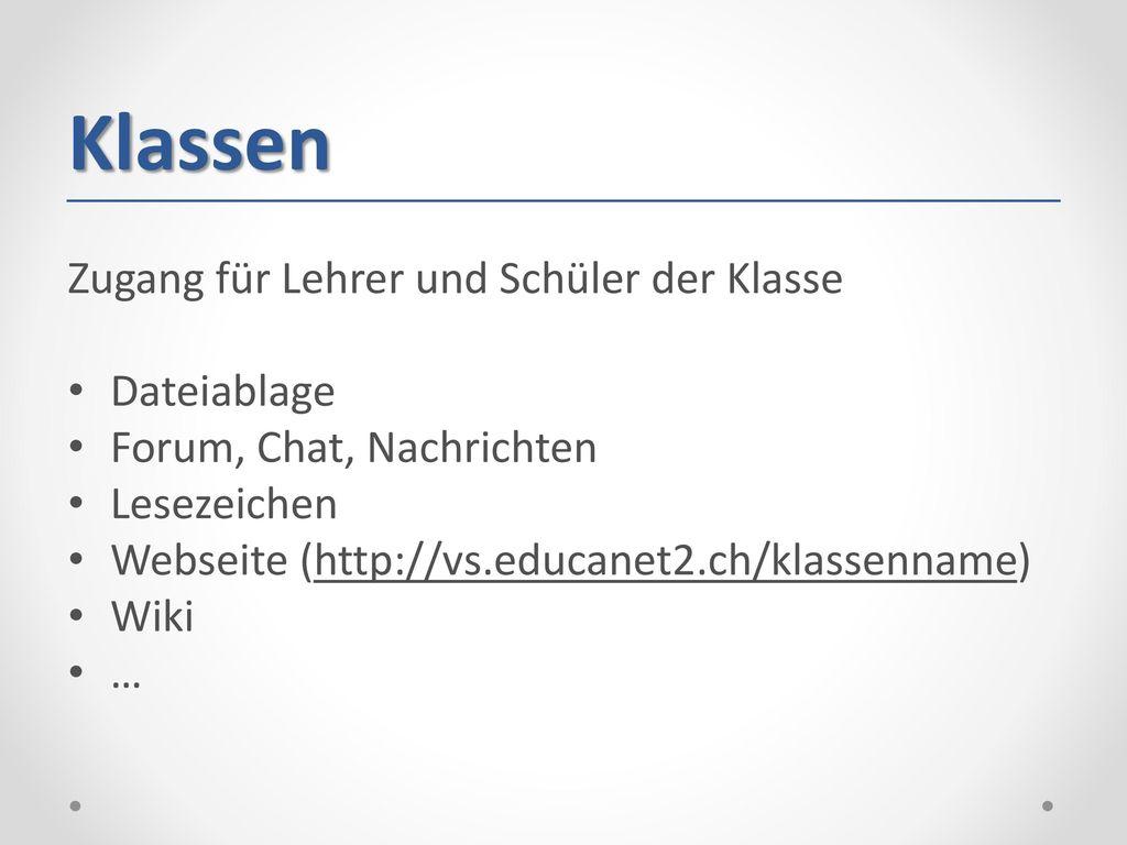 Klassen Zugang für Lehrer und Schüler der Klasse Dateiablage