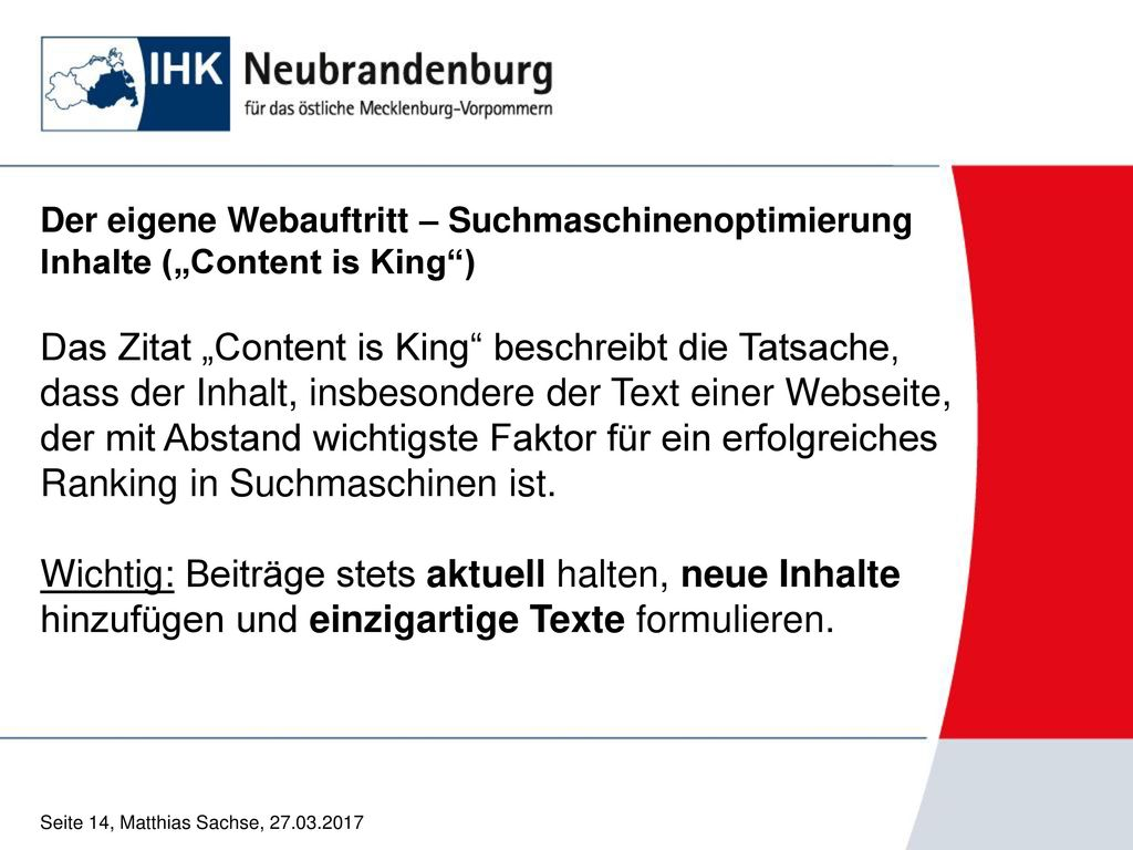 """Der eigene Webauftritt – Suchmaschinenoptimierung Inhalte (""""Content is King )"""