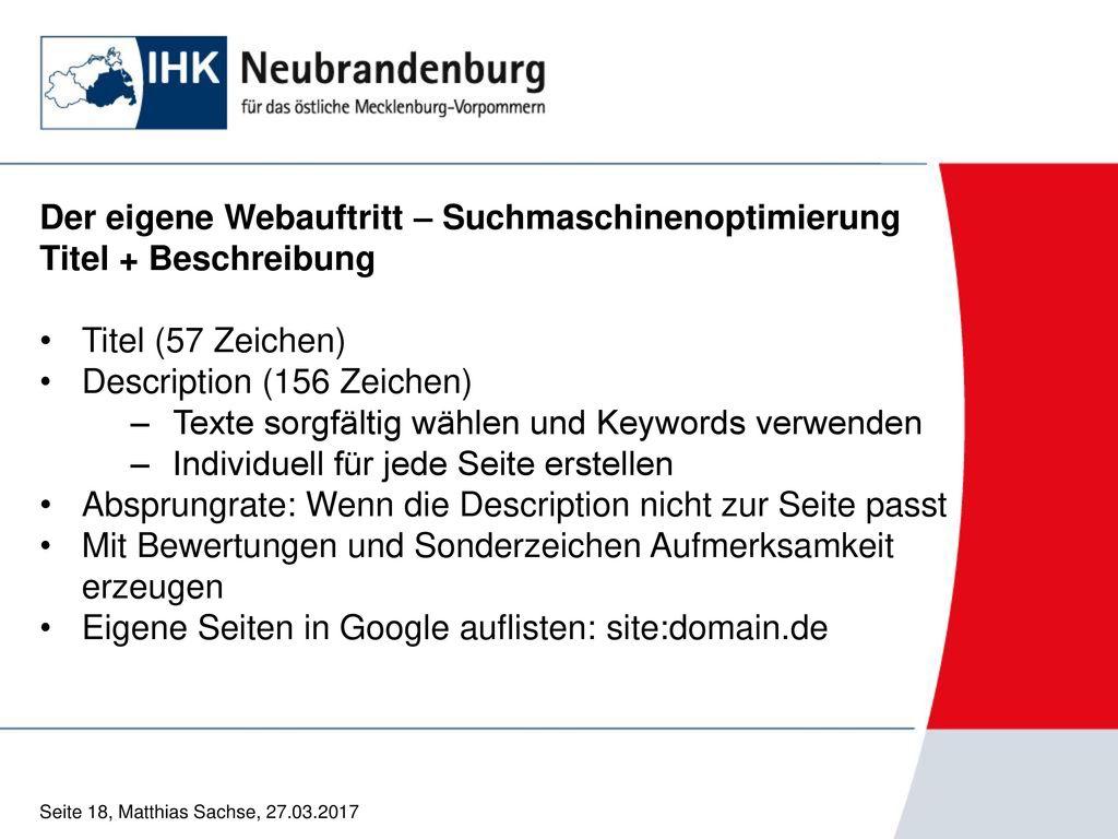 Der eigene Webauftritt – Suchmaschinenoptimierung Titel + Beschreibung