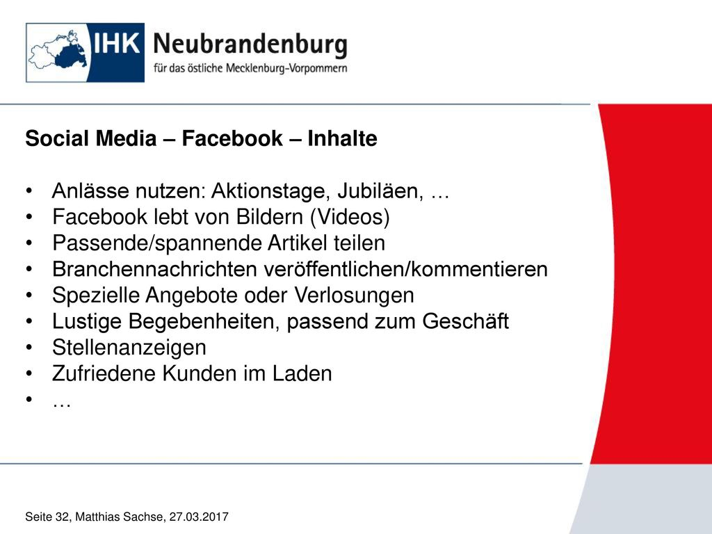 Social Media – Facebook – Inhalte