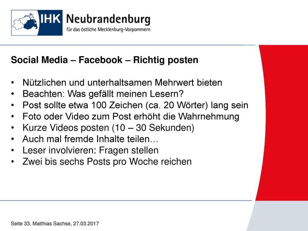 Social Media – Facebook – Richtig posten