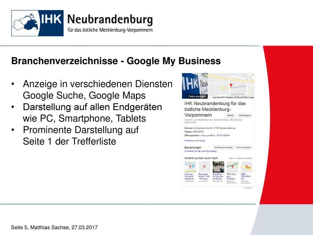 Branchenverzeichnisse - Google My Business